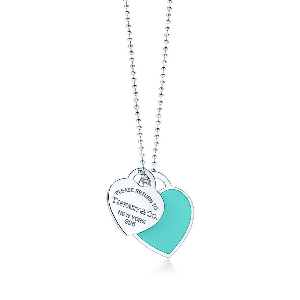 cb9ba5296 Return to Tiffany™ large double heart tag pendant in silver with enamel  finish.