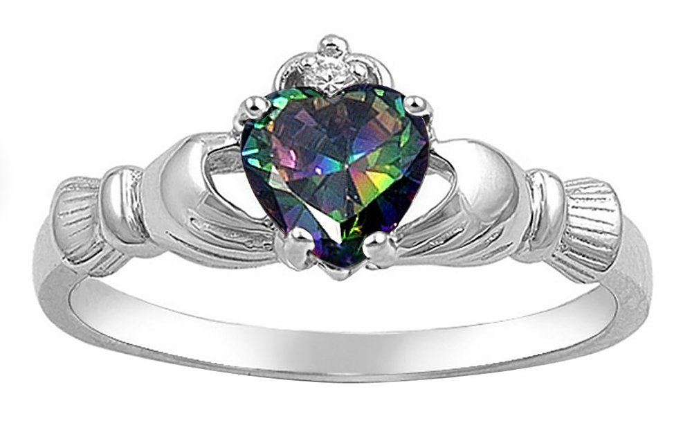 Sterling Silver Rainbow Multicolor CZ Heart Claddagh Ring - Size 6 I want!!