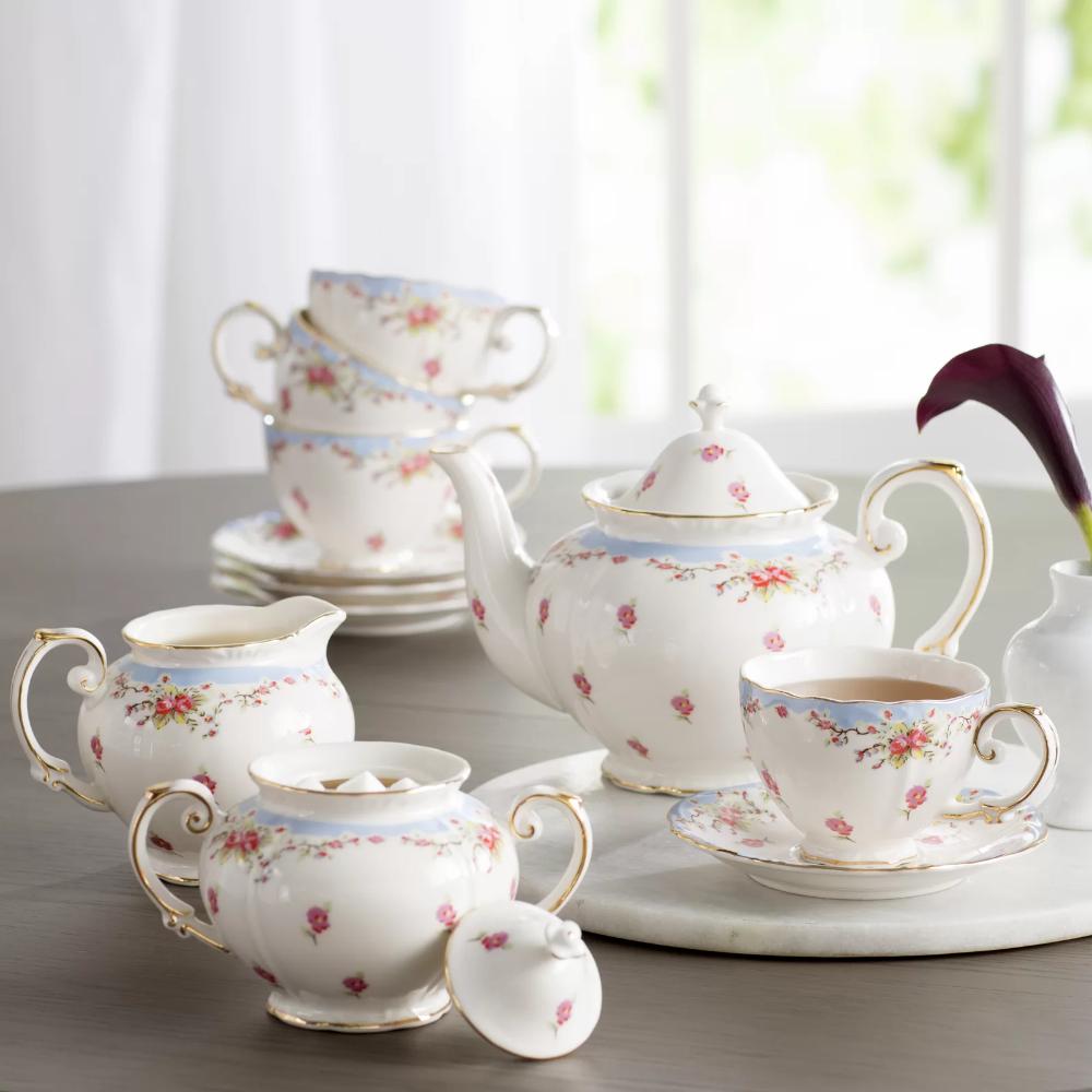 Stets 11 Piece Vintage Blue Rose Porcelain Tea Set In 2021 Glass Tea Set Tea Sets Vintage Tea Pots Vintage