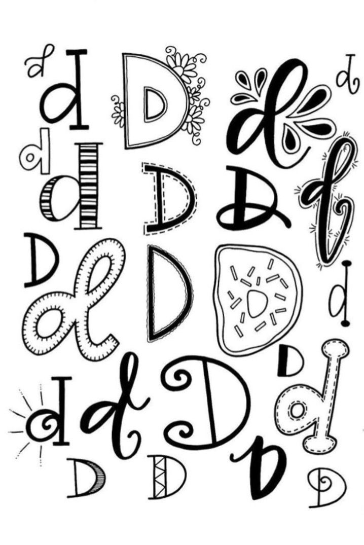 Bubble Letter Fonts Creative Lettering Doodle Alphabet Handwriting Numbers Fancy Bullet Journal Ideas D