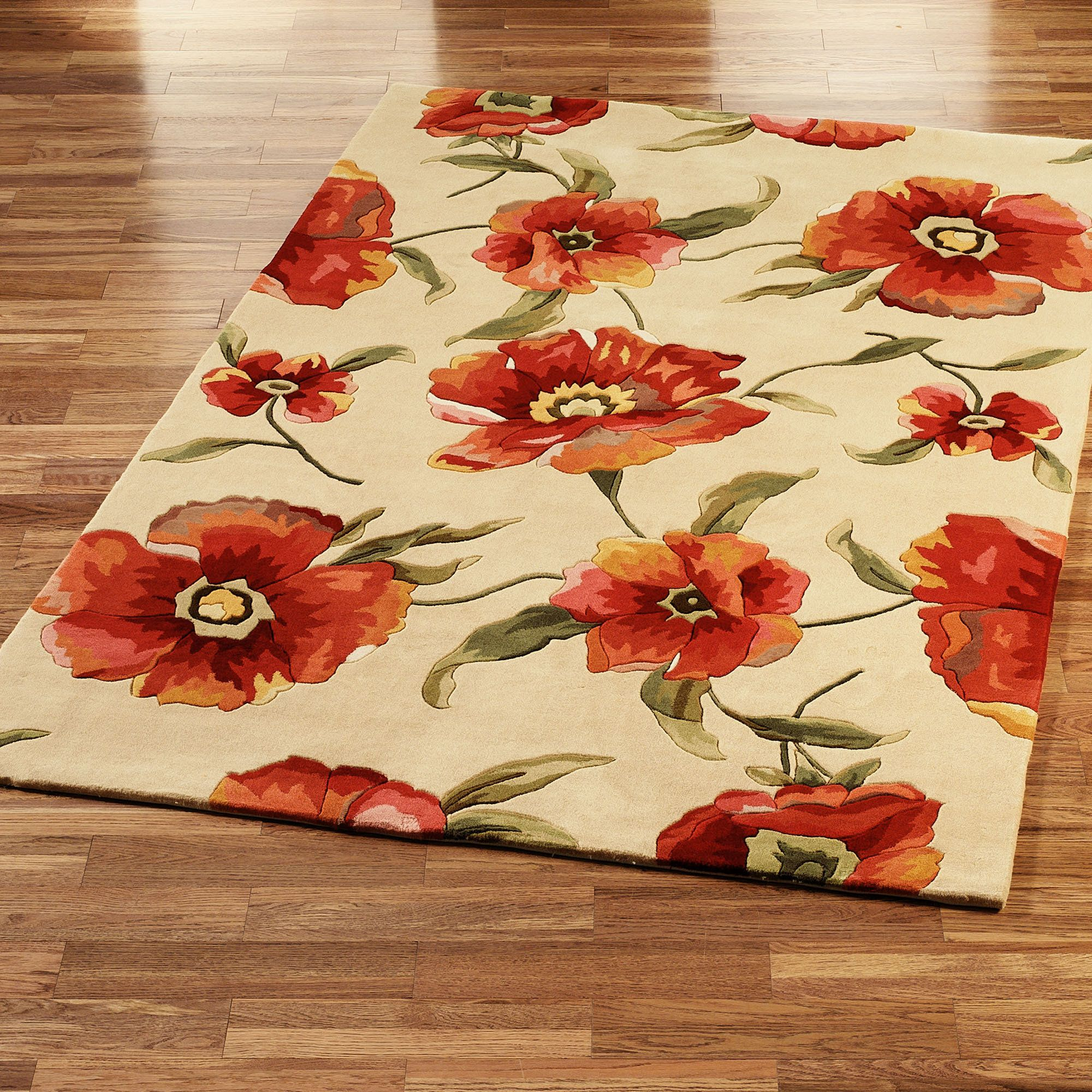Poppies Area Rug Ivory Orange