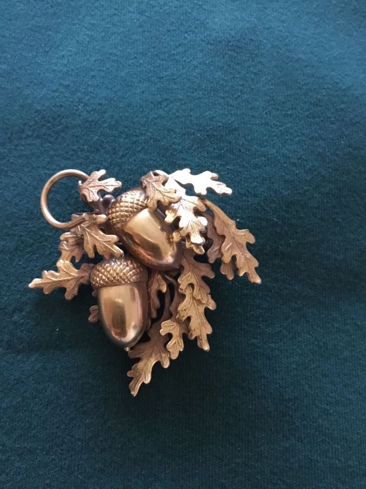 Statement Brass Look Vintage Broochpin Acorns And Oak Leaves Are