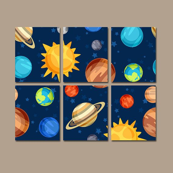 OUTER SPACE Wall Art, PLANETS Theme, Canvas or Prints, Big Boy ...