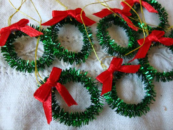 Mini Tinsel Wreaths Ornaments Diy Christmas Vintage Style Craft Supplies Mini Wreaths Tinsel Ornaments