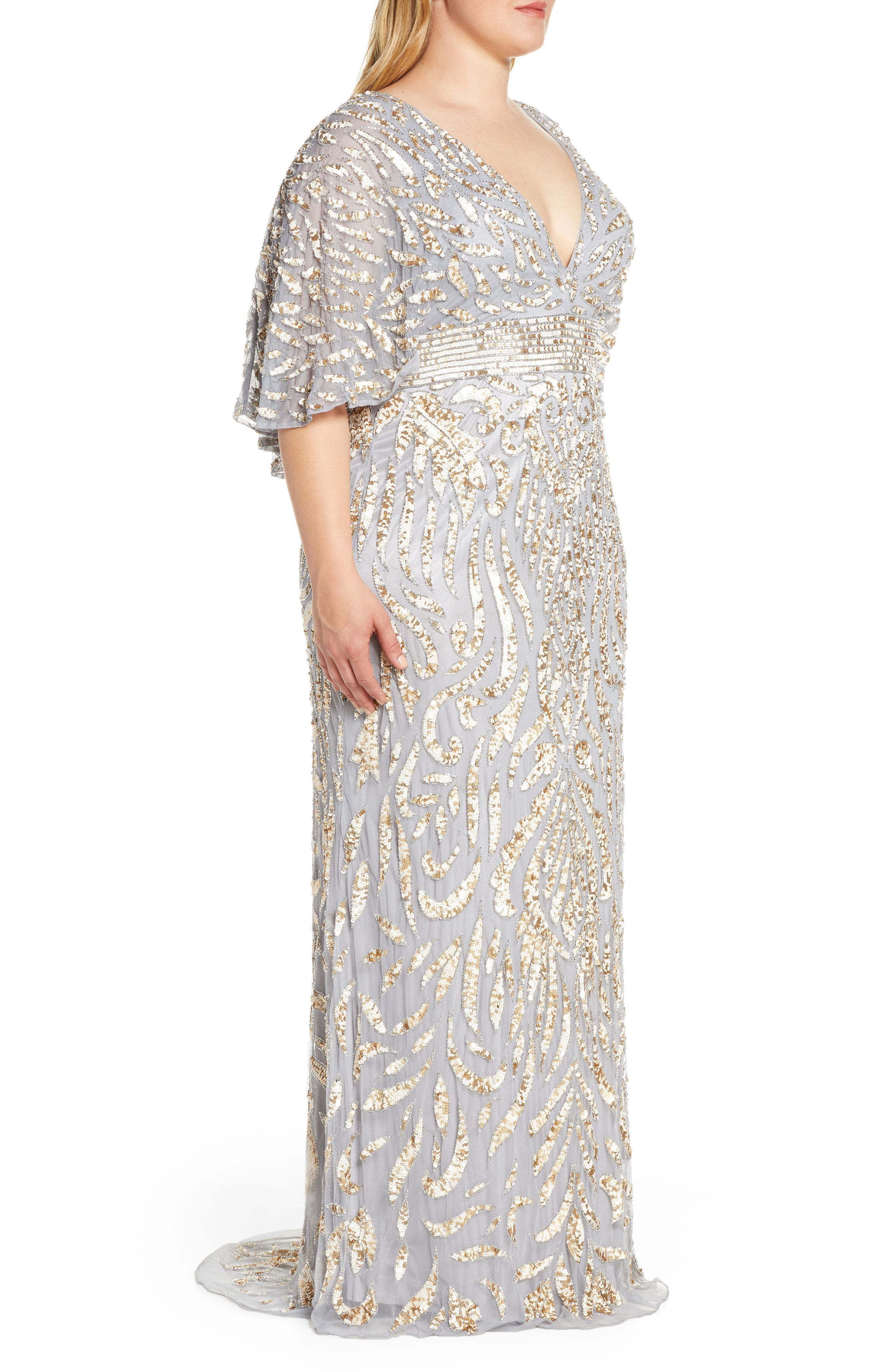 Mac Duggal Sequin Cape Sleeve Evening Gown Plus Size Nordstrom In 2021 Evening Gowns With Sleeves Plus Size Evening Gown Evening Dresses Plus Size [ 4048 x 2640 Pixel ]