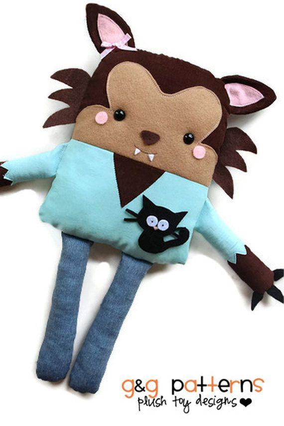 Werewolf Toys For Boys : Sewing pattern toy werewolf doll holiday