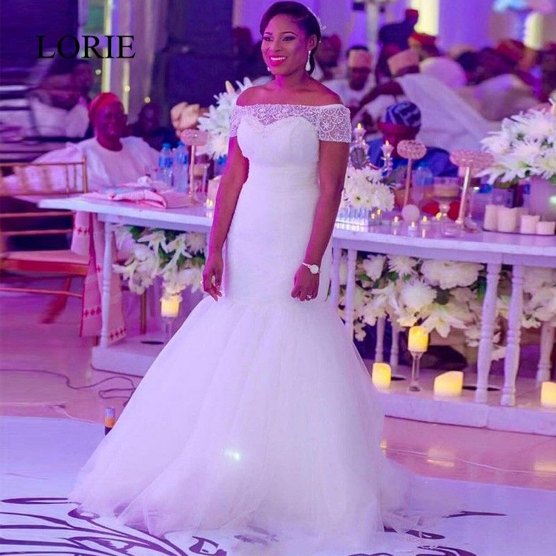 Vestidos De Novia African Sexy Wedding Dresses 2017 New Arrival Boat Neck Pearls Beaded Plus Size White Bridal Gowns Lace Up