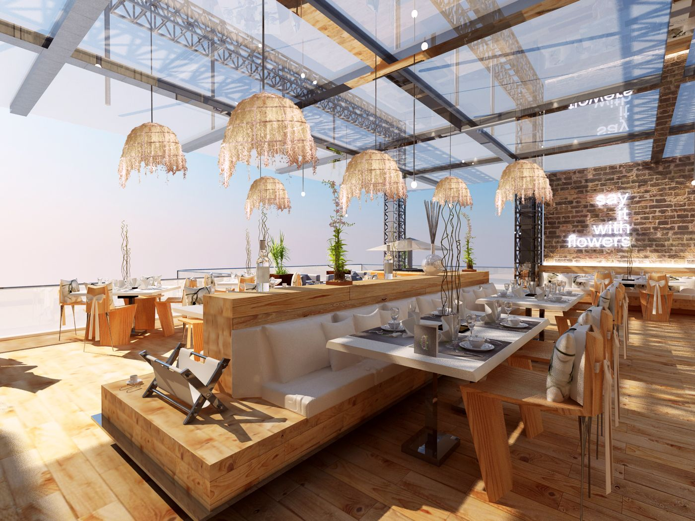 Cafeteria Design style, Day Light View, Internal atmosphere style ...