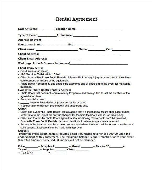 venue rental agreement template sample booth rental agreement 9