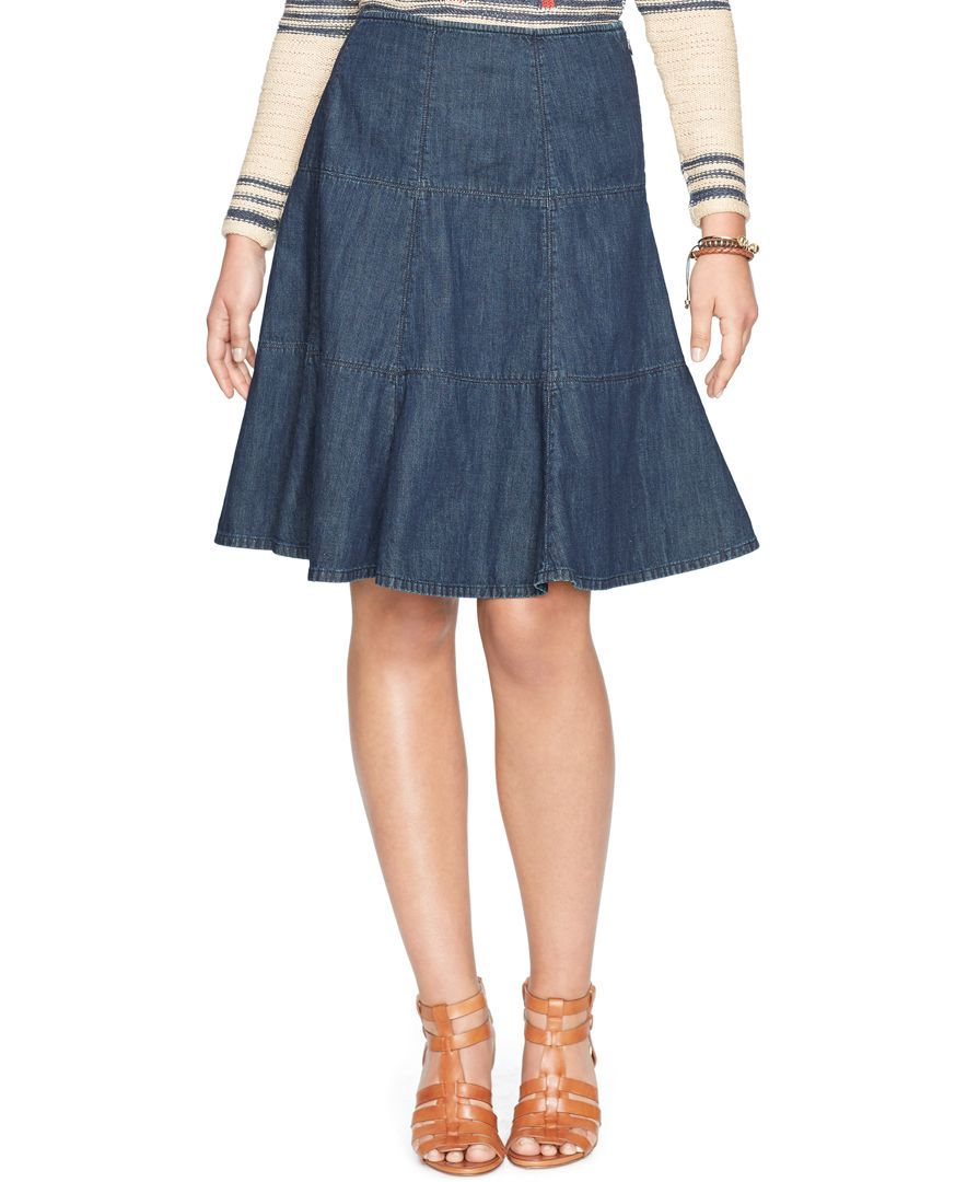 fine craftsmanship super cheap compares to special price for Lauren Jeans Co. Denim Fit-and-Flare Skirt | Products | Fit ...