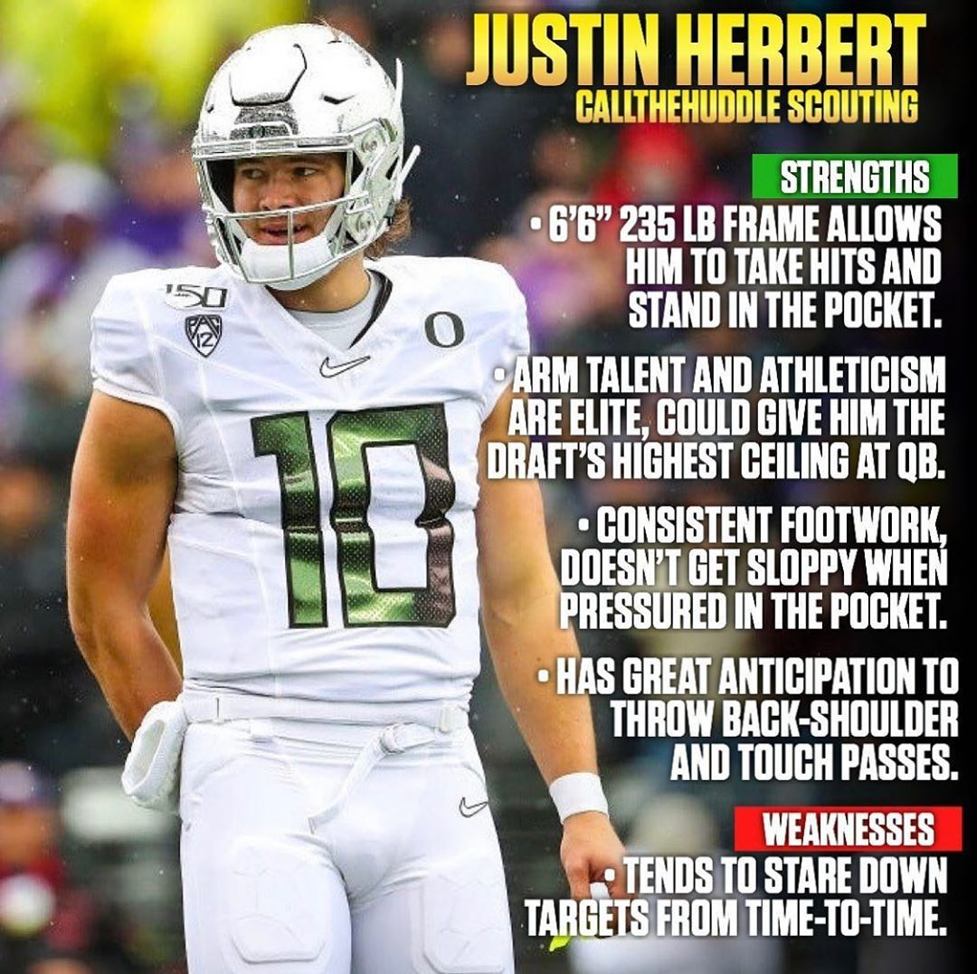 Justin Herbert On Instagram High Praise From Callthehuddle Nflqb Qb1 Nfldraft2020 Combine In 2020 Justin Fantasy Football Nfl Draft
