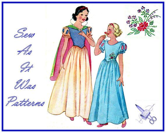 Rare 1930s McCall 558 Girls Snow White Costume Dress Cape ...  Original Snow White Costume