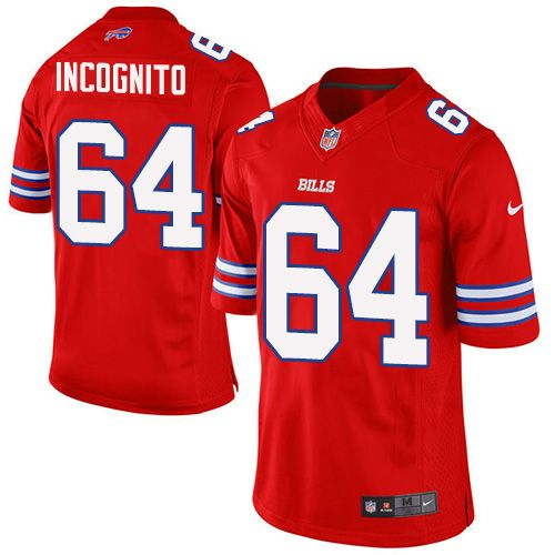 Nike Elite Richie Incognito Red Men s Jersey - Buffalo Bills  64 NFL Rush 435426a34
