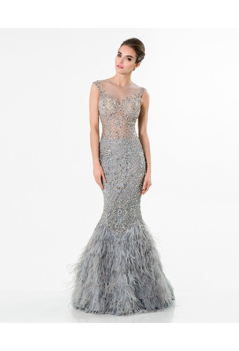 fbc0a911b18 Terani Couture - Gleaming Nude Illusion Trumpet Gown 1521GL0816A In Silver