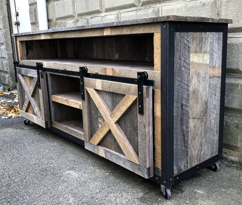 Rustic industrial barn board media stand tv stand w