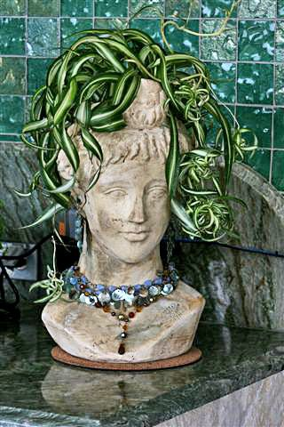 Head Planter With Wavey Plant Hair Ornate Lady From Stonefacecreations And Katg On Cubits Org