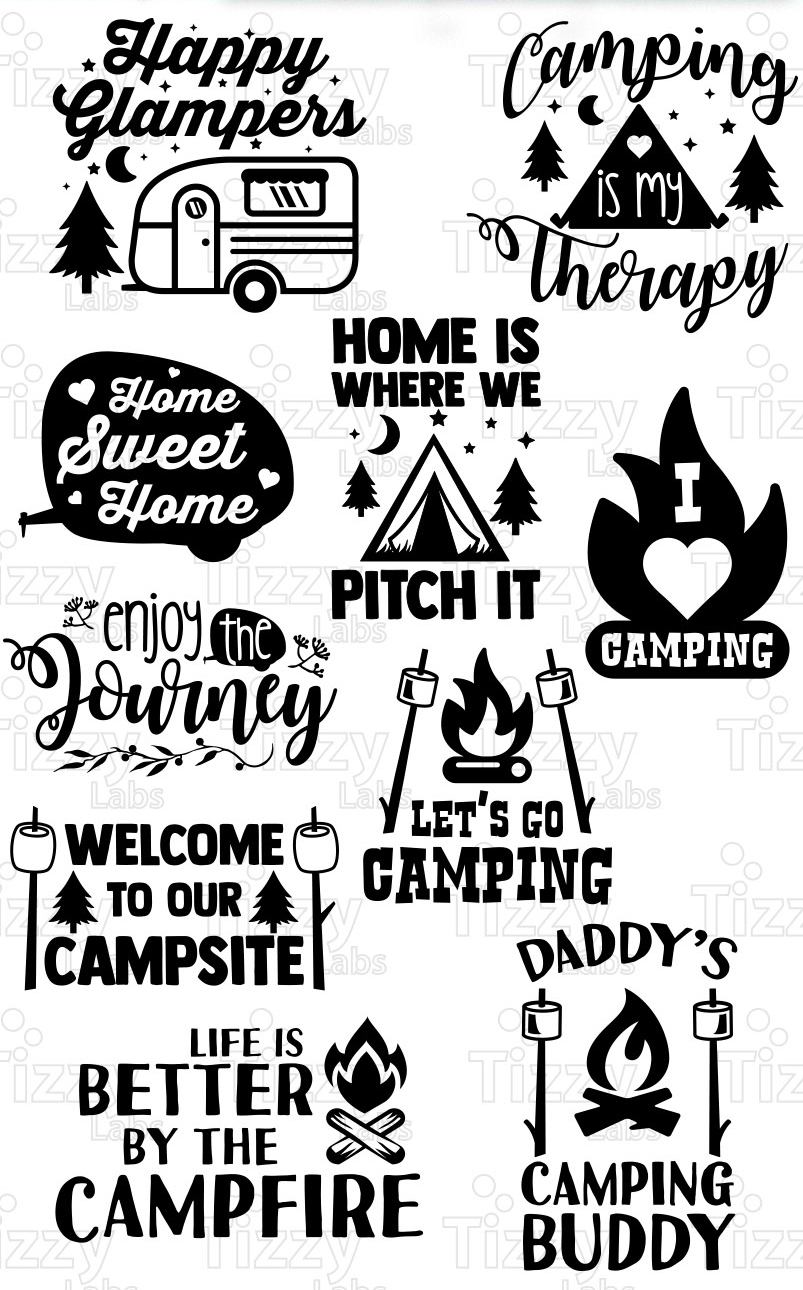 Camping Svg : camping, Camping, Bundle, Files, Cricut, Silhouette, Campers, Commercial, (101980), Design…, Cricut,, Camping,, Images