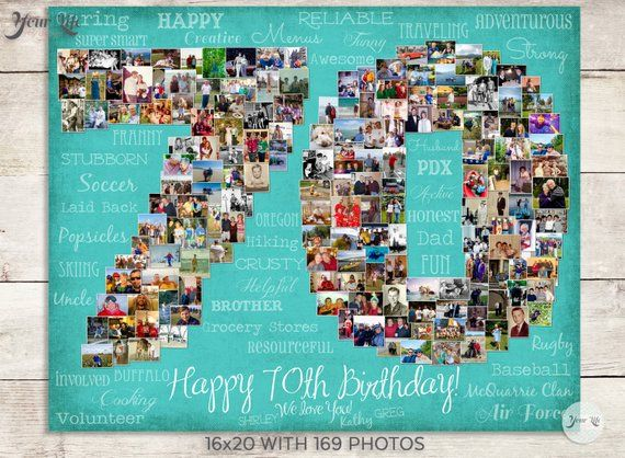 70th Birthday Gift, 70th Wedding Anniversary Gift, 70th Birthday Decoration, Anniversary Gift for Wife, 70th Gift for women, Photo Collage