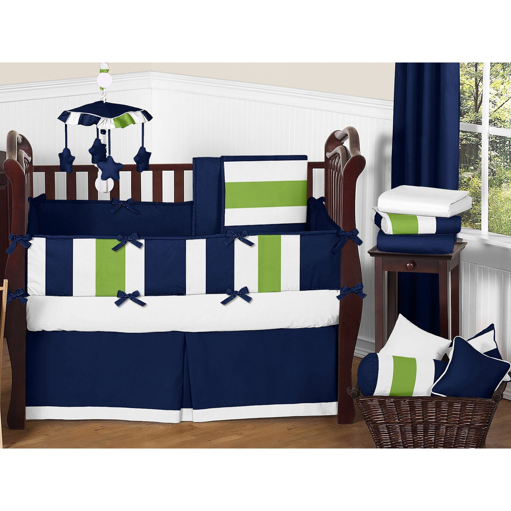 Set up your nursery in high style with this bold designer bedding
