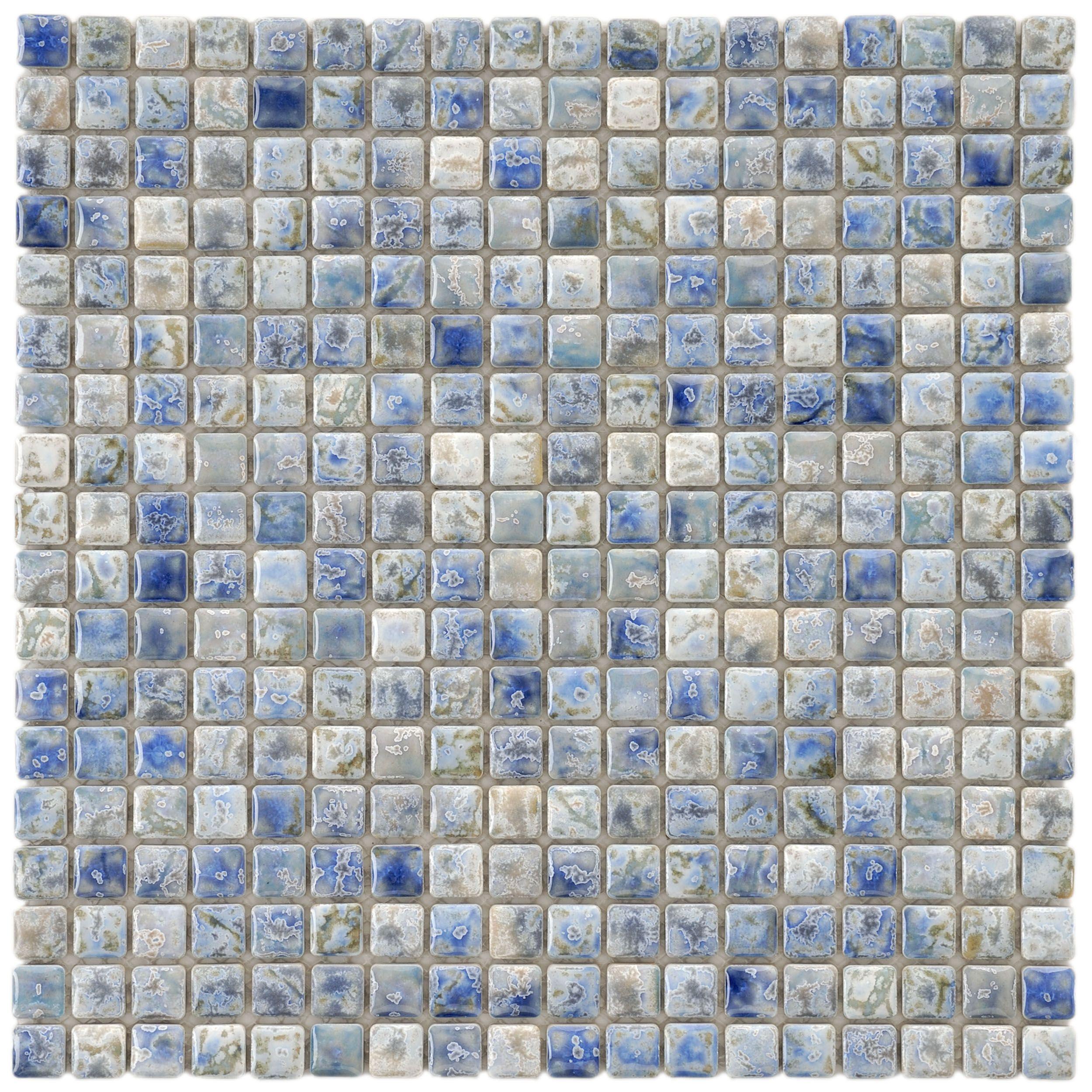 Somertile 12x12 Inch Samoan Mini Neptune Blue Porcelain Mosaic Floor And Wall Tile 10 Tiles 10 21 Sqft Porcelain Mosaic Tile Porcelain Mosaic Mosaic Flooring