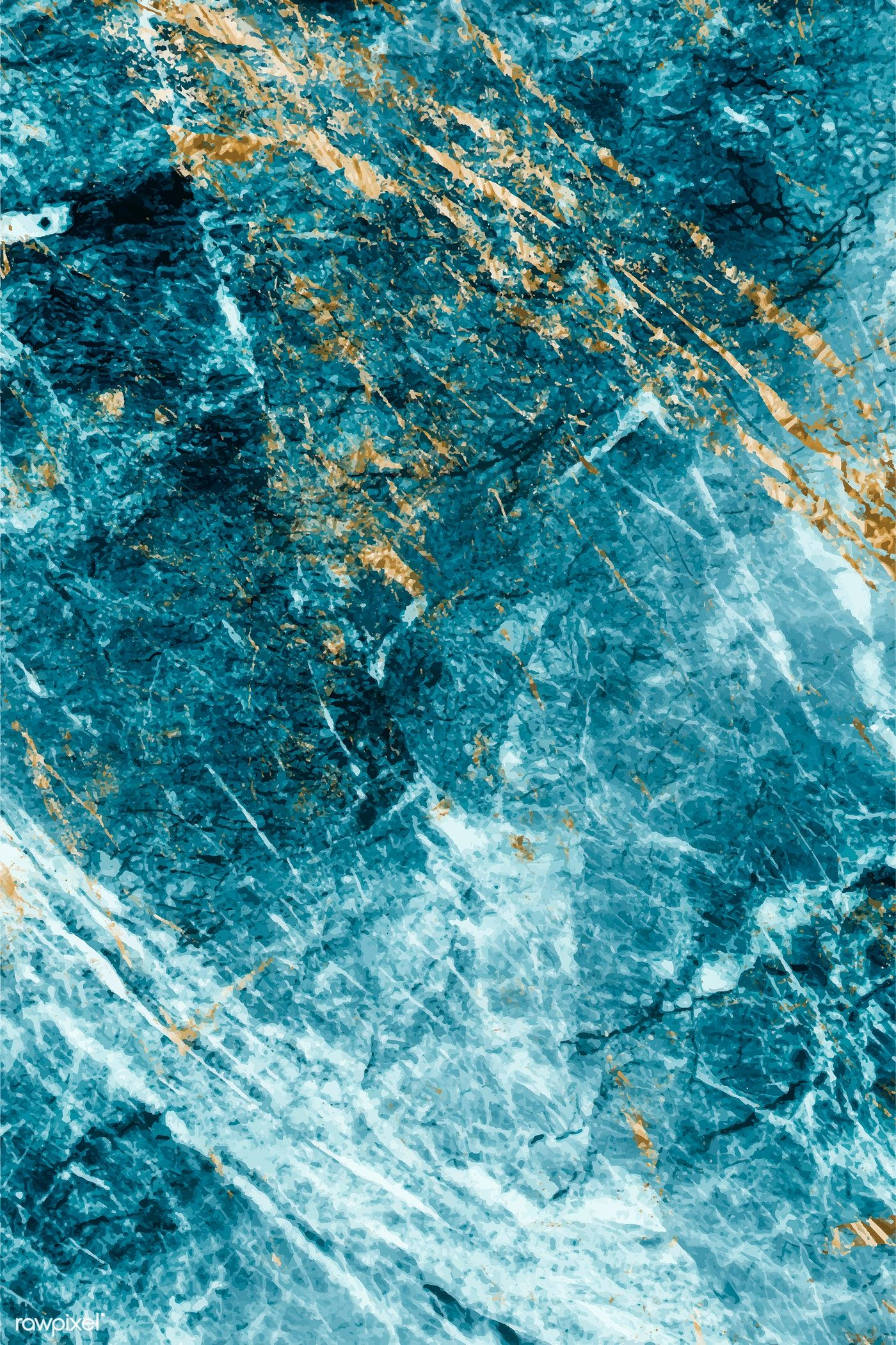 Blue and gold marble textured background vector free