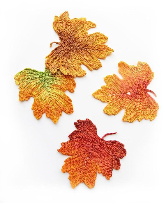 A Detailed Photo Tutorial For 4 Crochet Autumn Leaves Aspen