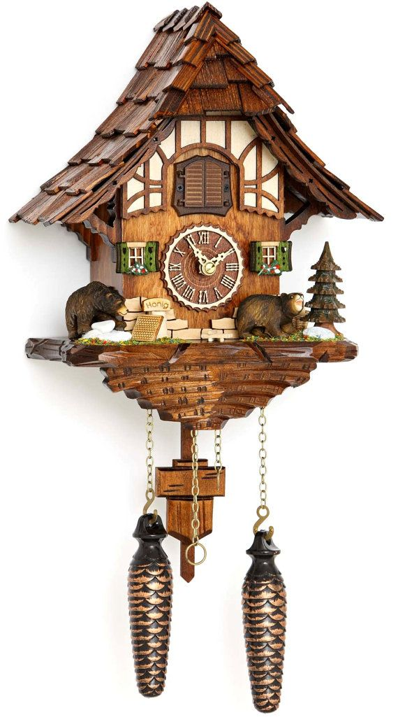 Original Black Forest Cuckoo Clock Baer With 12 Melodien Cuckoo