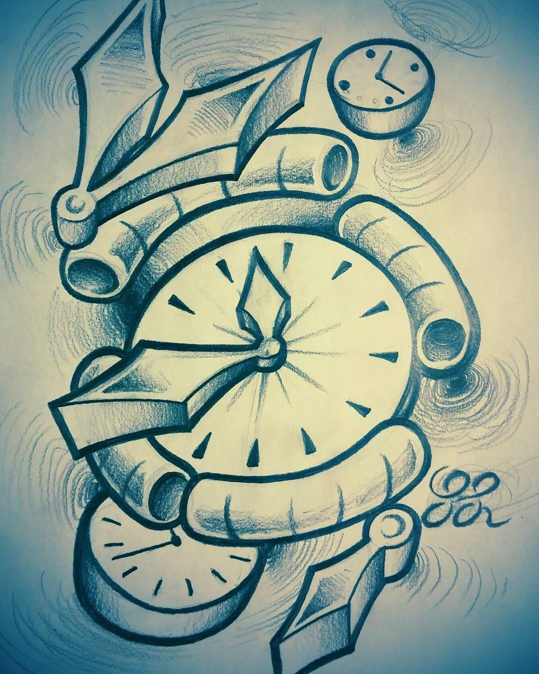 Time clock new school sketch Clock tattoo design, Art tattoo