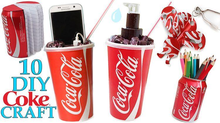 10 DIY COCA COLA Craft HOW TO! Recycling  See tutorial in video: https://www.youtube.com/watch?v=wwBq3DpK_80&t=1130s  1. Coke liquid soap container 2. Coca Cola pencils 3. Coca Cola notebook 4. Coke power bank 5. Coca Cola phone case 6. Coca Cola key chain 7. Coca Cola lip balm 8. Coke pencil holder 9. Coca Cola earring 10. Coca Cola candle holder  #cocacola #coke #cola #diynikolalexandra #diy #tutorial #youtube #soap #pencils #powerbank #notebook #phone #balm #chain #candle #earring #craft