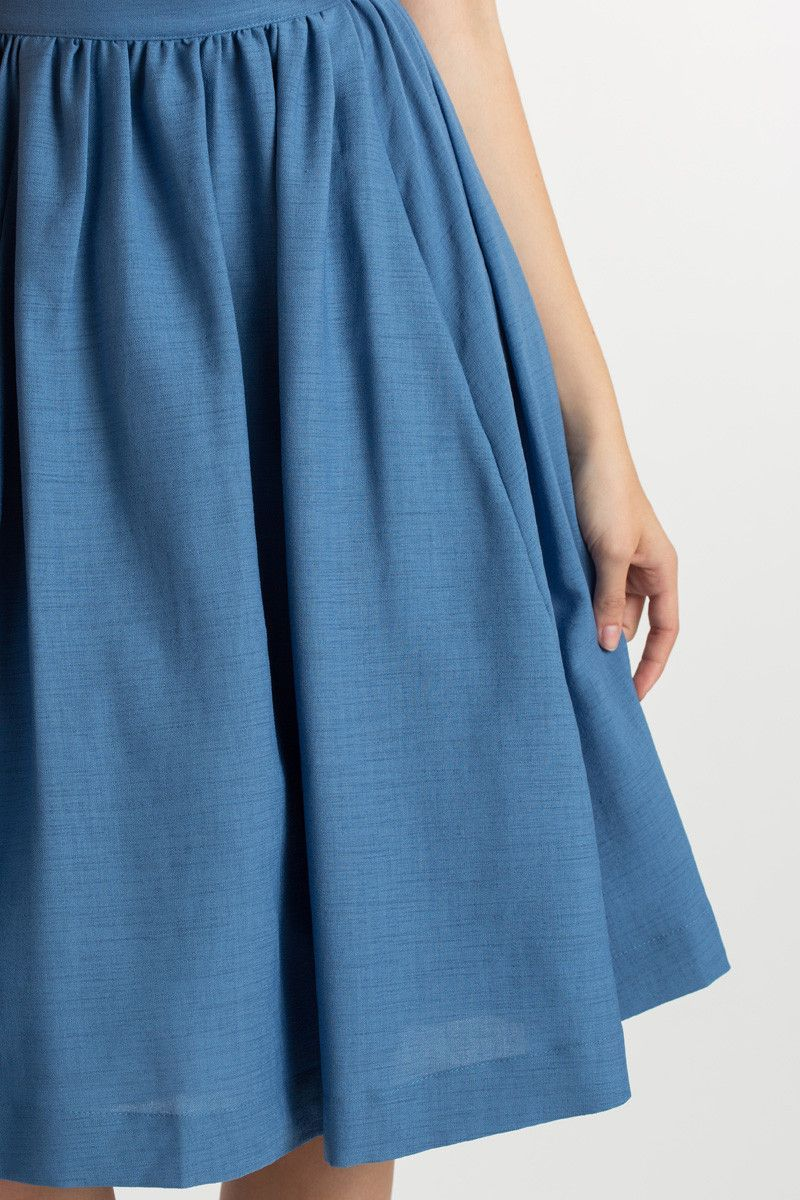 official supplier new collection pretty cool Denim Flared Midi Skirt - Ficts