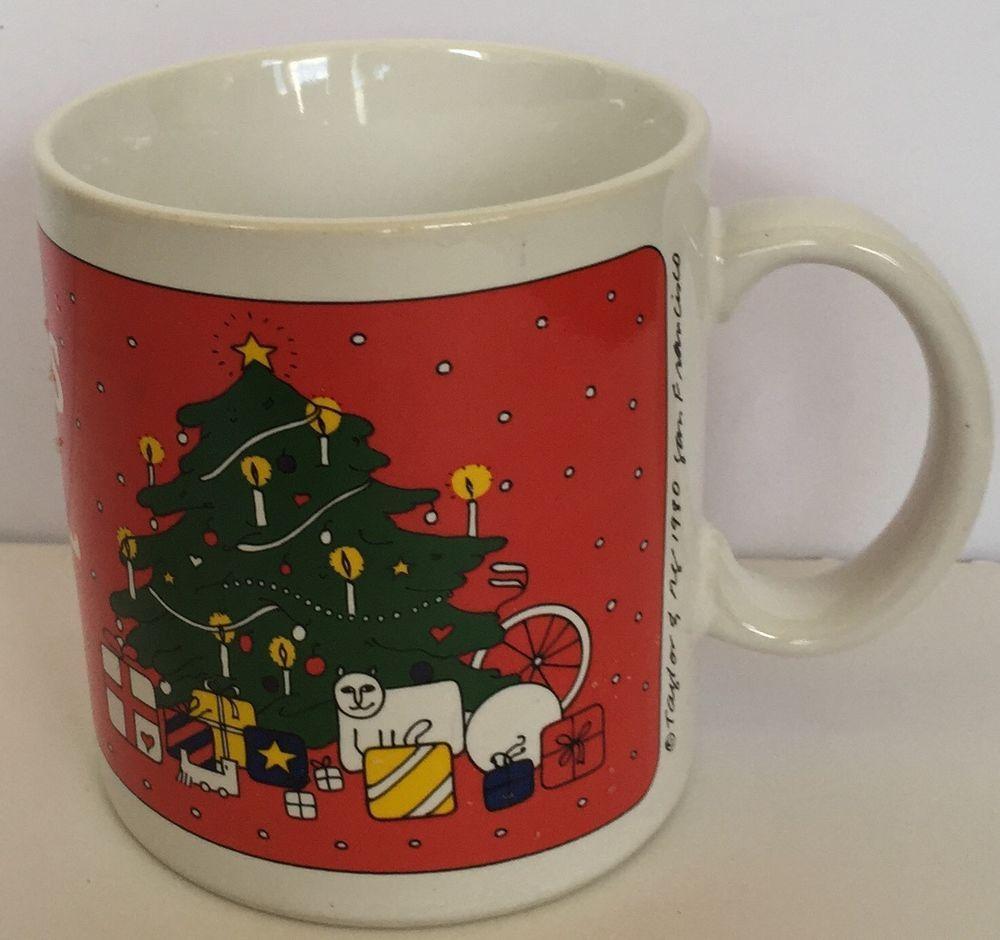 Vtg Joyous Noel Red Green Christmas Tree Presents Coffee Mug Cup Taylor And  NG | EBay