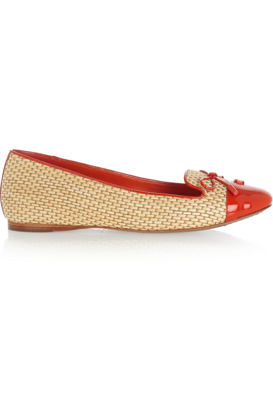 83aadbc7929 TORY BURCH Catherine Patent Leather-Trimmed Raffia Ballet Flats.  toryburch   shoes  flats