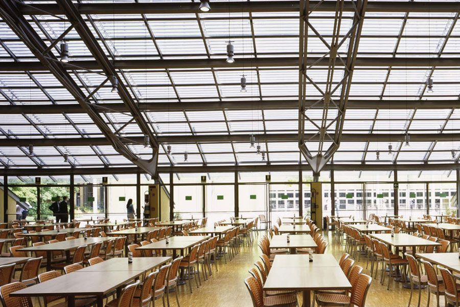 staff eating and seating area with large span glass roof