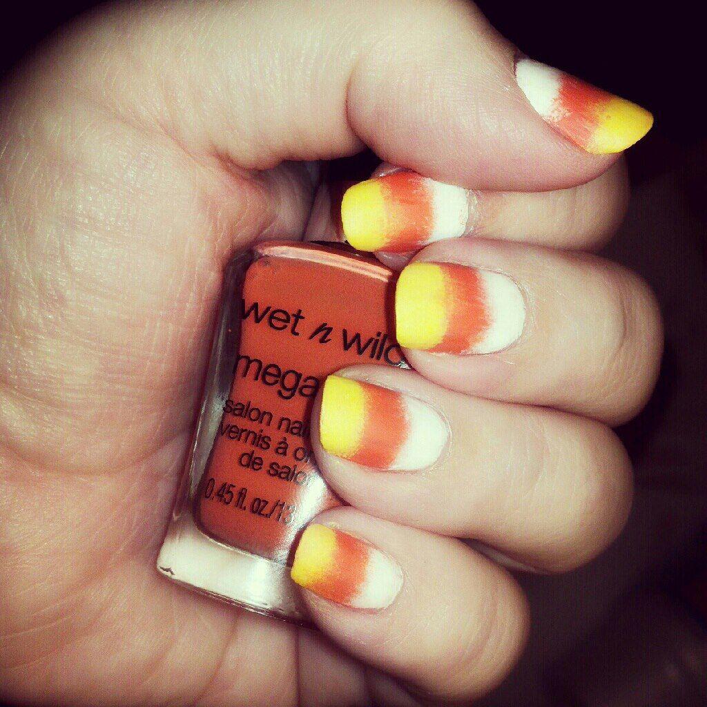 My #candycorn #halloween gradient #nailart :o) Done using a makeup ...