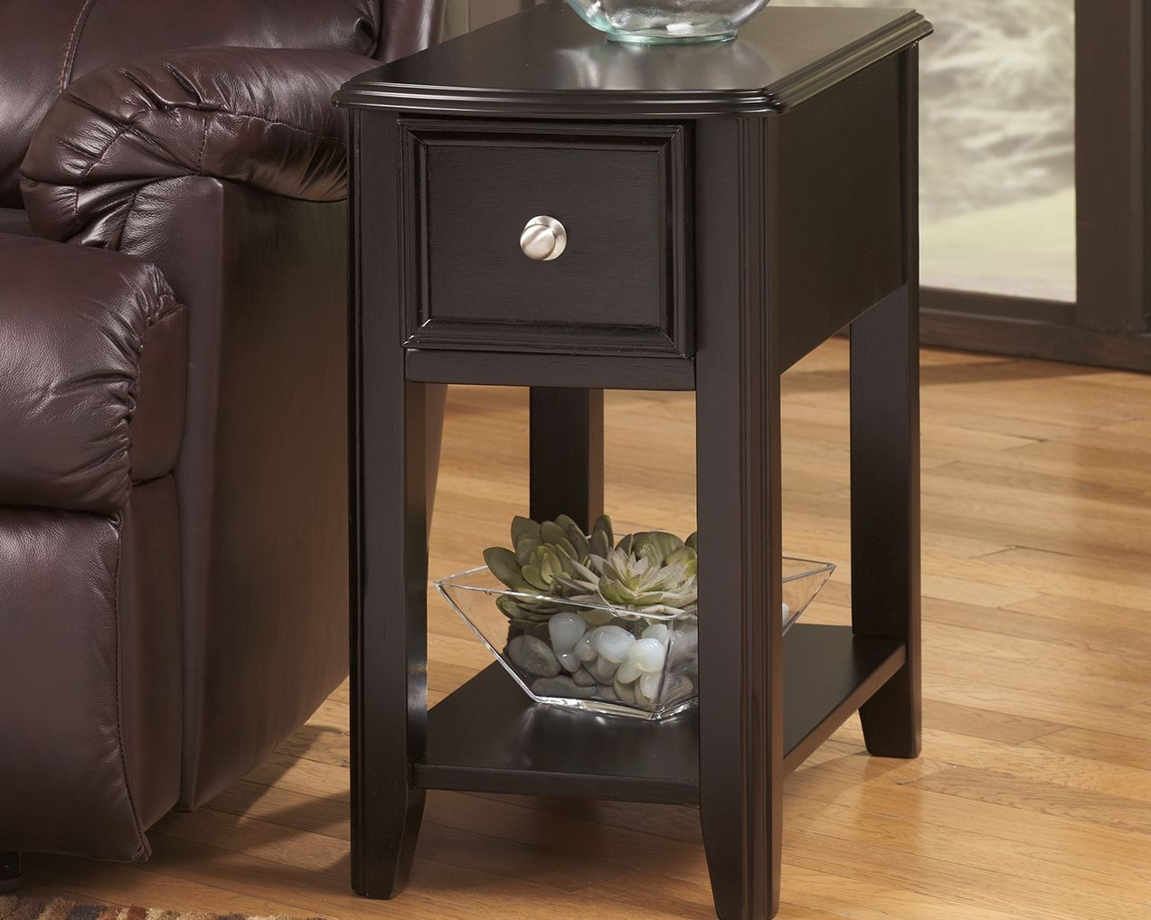 Breegin Chairside End Table Almost Black Black End Tables End Tables Ashley Furniture