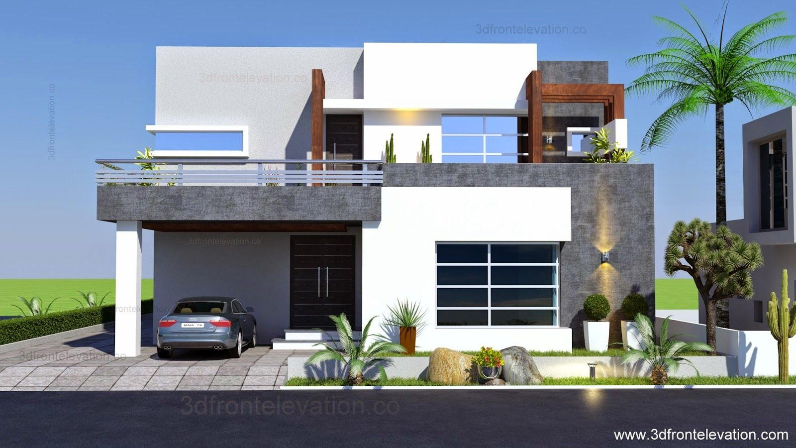 3d Front Elevation 1 Kanal Contemporary House Plan