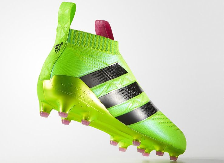 The laceless Adidas Ace 16+ PureControl football boots will be launched in  a striking Solar Green   Solar Pink variation. c872c75a3c69