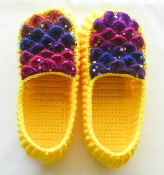6f609f0f053ef Crochet Yellow Dragon Scale Slippers - Adult Sizes - Rainbow ...