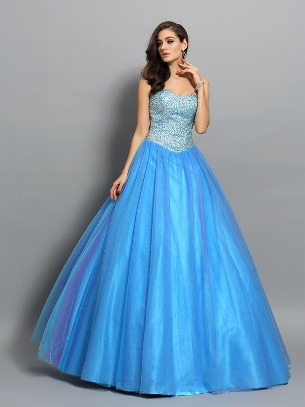 1b9fafbec9f Ball Gown Sweetheart Beading Sleeveless Long Elastic Woven Satin  Quinceanera Dresses