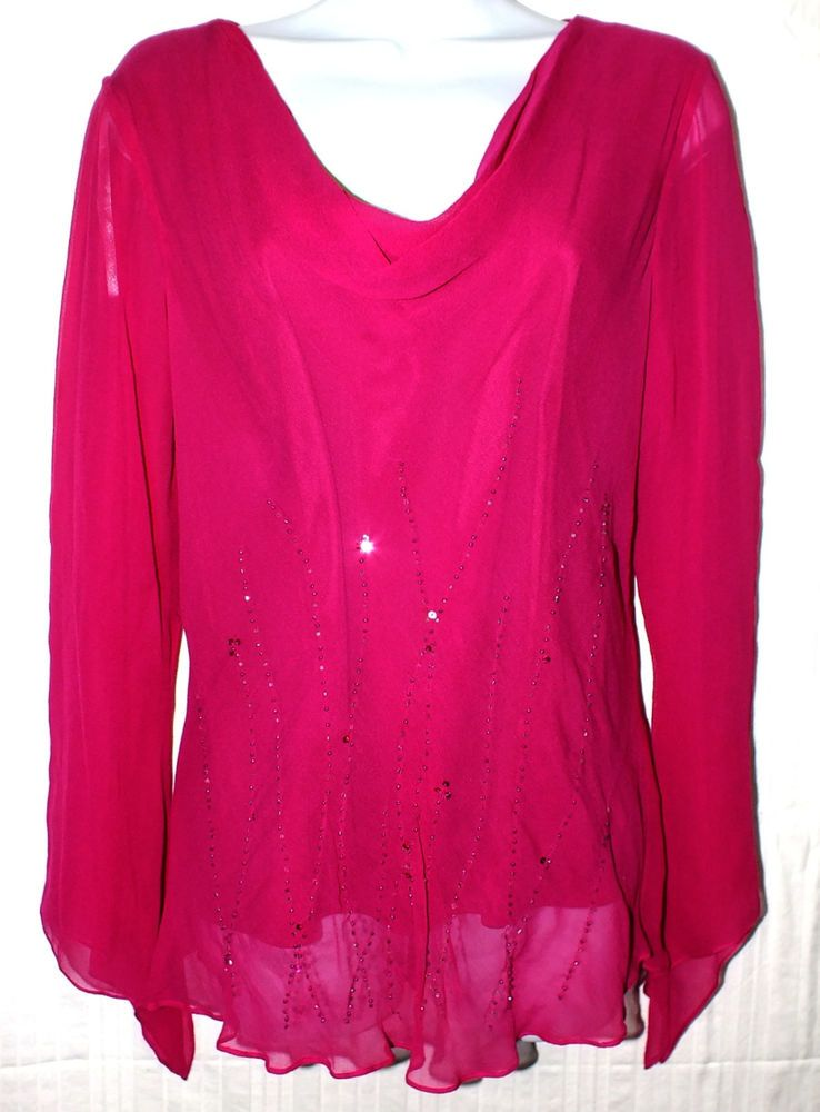 Dressbarn Collection Casual Magenta Women's Top Blouse Shirt Size 14 #DressbarnCollection #Blouse #Casual