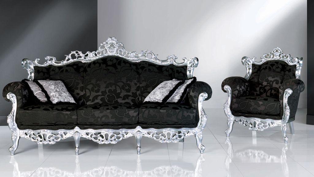 anastasia luxury italian sofa. Landia Classic Italian Sofa, 2 Seater Armchair Upholstered In A Luxury Fabric With Matching Coffee Table \u0026 Side Tables All Finished Silver Leaf. Anastasia Sofa E