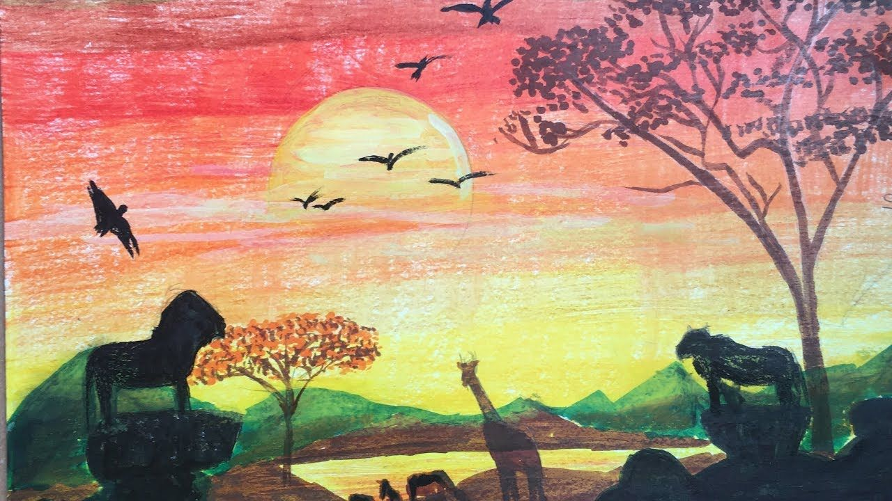 African Sunset Drawing Drawing Of Nature With Colour Pencils Nature Paintings Sunset Painting Easy Sunset Painting