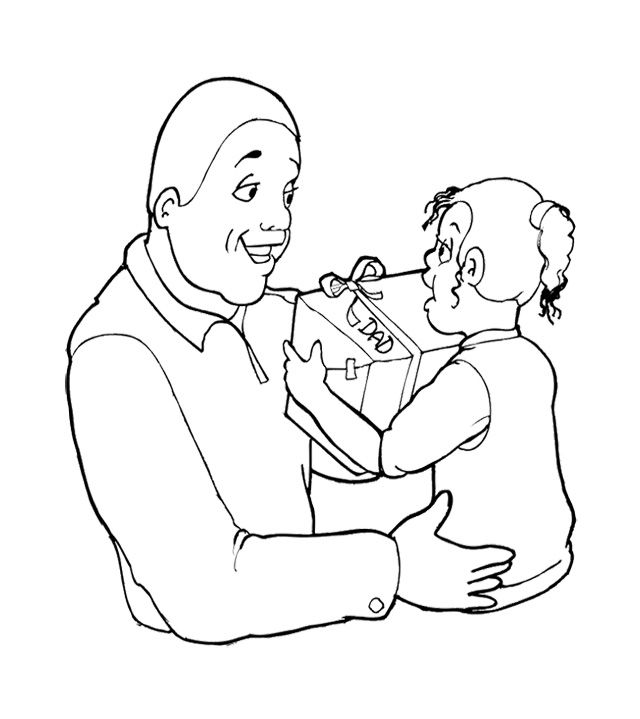 The Child Giving Gift To Fatheru0027s Day Coloring Page For Kids Kids - new free coloring pages for father's day