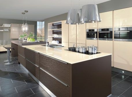 Superbe Cream Brown Kitchen Gloss Modern