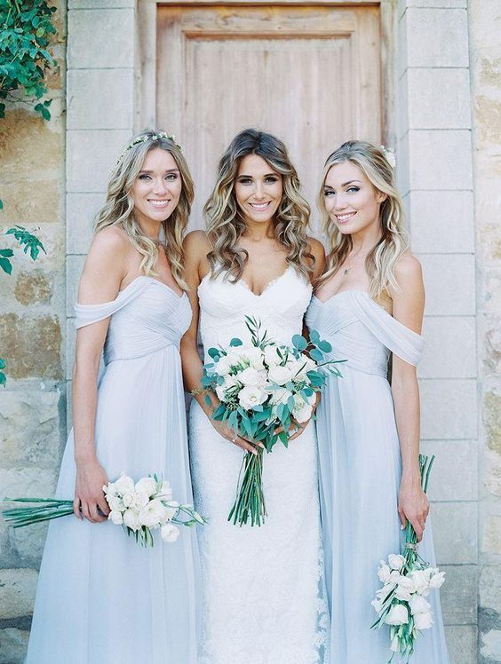 Bohemian Country Style Baby Blue Bridesmaids Dresses Off Shoulder Pleats D Chiffon Maid Of Honor Wedding Party Dress 2016 New