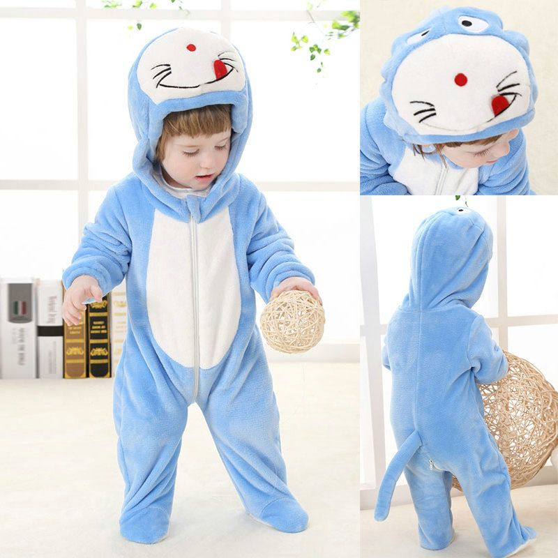030670d8f Doraemon Cartoon Flannel Onesies Hoodie Pajamas Baby Kigurumi Costume