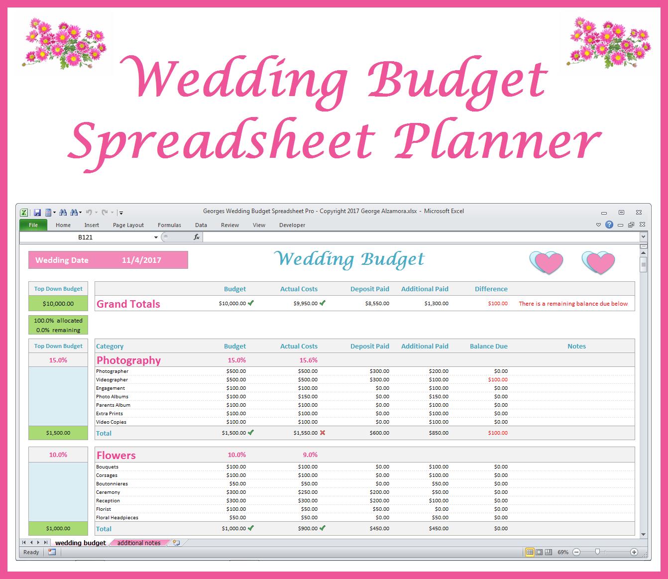 Georges Wedding Budget Spreadsheet Pro V2.0