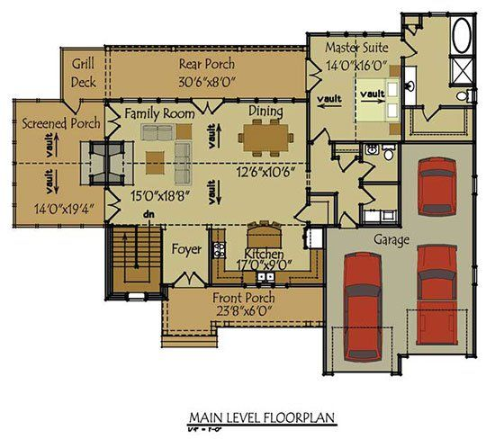 3 Story Open Mountain House Floor Plan: Two Story Cottage House Plan