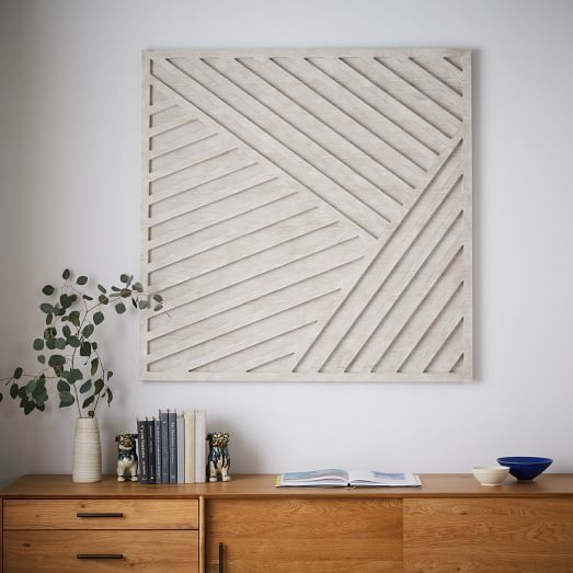 West Elm Wall Decor whitewashed wood wall art - overlapping lines | wood wall art