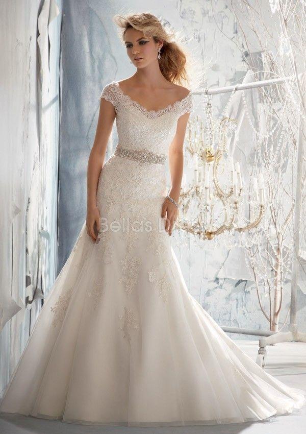 V Back Off The Shoulder A Line Tulle Cathedral Train Wedding Dress Cap Sleevesshort